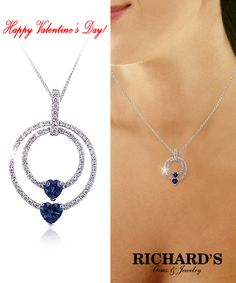Two heart and diamond pendant in 18k white gold.