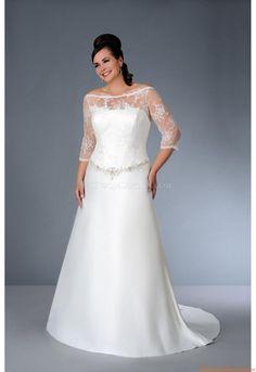Rund-neck A-linie Bodenlang Elegante Brautkleider 2014 aus Satin mit Applikation