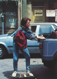 Marty McFly showing us how it's done with his Eastpak backpack in Back to the Future, 1985.
