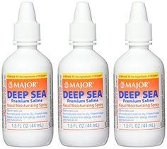 Deep Sea Saline Nasal Spray Generic for Ocean Nasal Moisturizing Spray oz per Bottle Pack of 4 Bottles by Major Pharmaceuticals Sinus Cleanse, Saline Nasal Spray, Spray Moisturizer, Benzalkonium Chloride, Facial Care, Deep Sea, Body Care, Health And Beauty