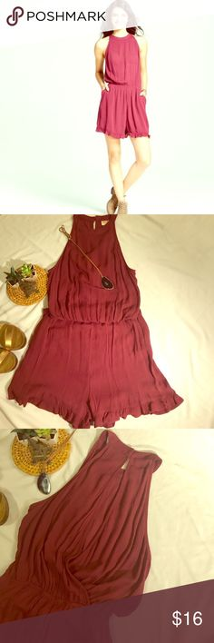 dd46141b009 Burgundy Romper Women s High Neck Romper Open V Back rayon. NWNT never  worn. Mossimo Supply Co Other