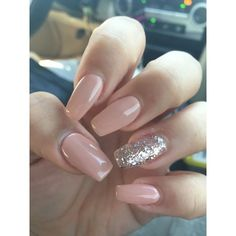 Acrylic and shellac coffin nails ❤ liked on Polyvore featuring beauty products, nail care and nail treatments