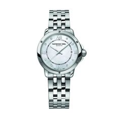 This sublime Tango model is the result of a harmonious combination of feminine materials. 8 diamonds adorn the mother-of-pearl dial and a date window is delicately positioned at 3 o'clock. Precious and functional, stunning and simple - this sublime piece can easily be worn to suit any occasion. Movement- Quartz. Case material- Stainless steel. Case size- 28 mm diameter. Case back- Snapped. Water resistance- 100 m, 330 ft, 10 atm. Crystal- Sapphire with antiglare treatment on both sides…