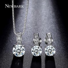 Find More Jewelry Sets Information about NEWBARK Round Cubic Zirconia Prong…