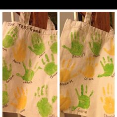 Great end of year/going away present from child's class- handprints with names on canvas tote bag. thanks TBNS :)