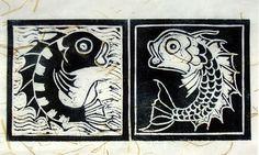Fish Linocut Prints, Art Prints, Block Prints, Elements And Principles, Art Activities For Kids, Clay Design, Sgraffito, Sea Creatures, Printmaking