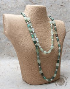 All the greens of spring in this long, luscious necklace - $259.99 - take off 20% - earn $26.00 in EarthWhorls Bucks and, we ship free!  Mother's Day is just around the corner!  http://earthwhorls.com/product/lapis-new-jade-african-turquoise-sterling-silver-necklace/