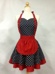 I used to have their Bella apron with Vintage Pirate tattoos! It finally died, and this is what I would love to replace it with! Apron French Maid Polka Dot with Red Double Circle by Boojiboo, $38.75