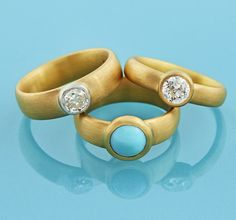 #22ctgold Rings antique #diamonds and natural #turquoise