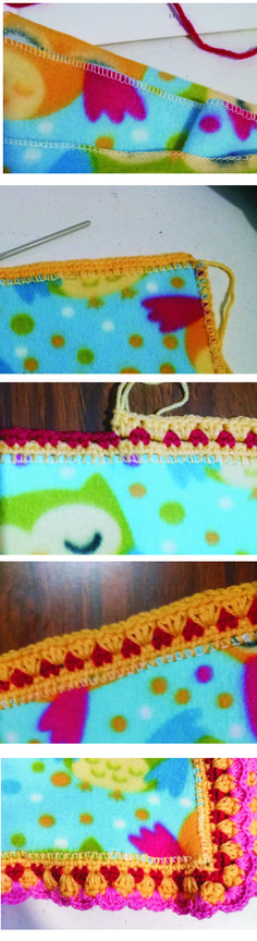 "Cobijita de tela tipo polar, 70 X 100 cms, con orilla tejida (120g.) #6 del ""50 more crocheted afghan borders"" y abanicos al final. Blanket with crochet edge, 70X100cms. polar fleece fabric, 120grms.yarn, edge #6 of "" 50 more crocheted afghan borders"" by Jean Leinhauser and fans stitch at the end."
