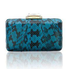 Espey Snakeskin Blue Minaudiere with Dark Markings. Elaphe Bag. KOTUR #bluebag #eveningbag #snakeskinbag #elaphe #summerbag #blueclutch #SS15 #spring15
