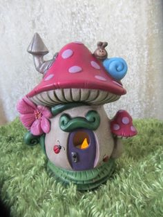 Fairy  house handmade mushroom house polka dot by TeresasCeramics, $25.00