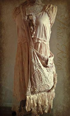 Paris Rags Linen Vintage lace bag!