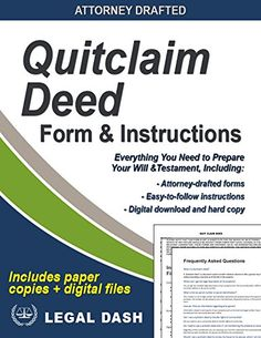 Adams Business Forms Quitclaim Deed Forms And Instruction Set Of