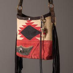 Fringed Navajo mini bucket shoulder bag with vintage sterling + turquoise…