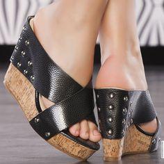 Wedges woman black elasthomère heels 11 cm size 38, on line shop Modatoi. buy shoes on website modatoi.co.uk.