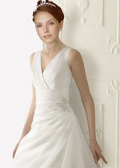 Stunning Organza Satin A-line V-neck Natural Waist Tank Strap Full Length Bridal Gown With Beaded Lace Appliques