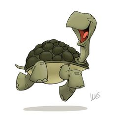 We generally associate things that are slow with sadness, depression, or stupidity, but what about turtles? Happy Turtle, Turtle Love, Cartoon Turtle, Tortoise Turtle, Character Design References, Character Drawing, Animal Design, Creature Design, Cartoon Drawings