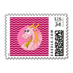 Pink dragon cartoon stamp