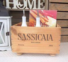 Wooden wine box on feet  'Sassicaia'   by BaxterandSnowwinebox