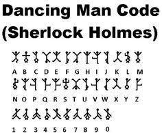 [ Codes And Ciphers - Dancing Man Code (Sherlock Holmes) - Wattpad Alphabet Code, Sign Language Alphabet, Alphabet Symbols, Writing Code, Writing Tips, Writing Prompts, Ancient Alphabets, Ancient Symbols, The Words