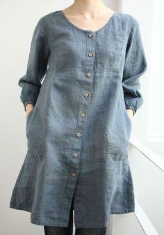 Not sure about silhouette for my body type (more fitted, A line) but like the idea of a multi purpose denim dress. Perhaps in a darker indigo. Linen Dresses, Cotton Dresses, Casual Dresses, Kurta Designs, Blouse Designs, Denim Kurti Designs, Hijab Fashion, Fashion Dresses, Linen Blouse
