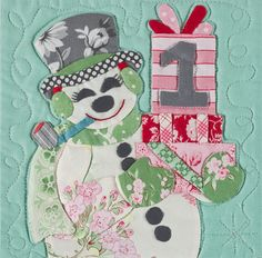 """Block 1, snowman, """"25 Days Until"""" BOM by Verna Mosquera at The Vintage Spool"""