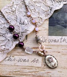 Elegant rose.romantic,rhinestone,glass beaded, floral necklace. Tiedupmemories.  Definitely me.