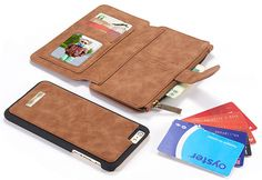CaseMe 007 iPhone 6S Plus/6 Plus Retro Flannelette Leather Detachable 2 in 1 Wallet Case