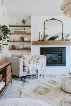 How We Built our mantle for under 75 dollars and our custom Beachwood stain. How We Built our mantle for under 75 dollars and how to make our custom Beachwood stain. Super easy project for anyone to do. Living Room Inspiration, Home Decor Inspiration, Decor Ideas, Home And Living, Living Room With Carpet, Cottage Living Rooms, Woodland Living Room, Living Room Interior, Living Spaces