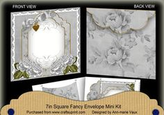 Silver Roses Fancy 7x7inch Easy Envelope Mini Kit on Craftsuprint - Add To Basket!