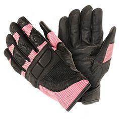 Women's Cool Rider Black/Pink Mesh Motorcycle Gloves