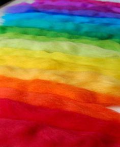 Rainbow Feltmaking Mix - A colourful assortment of merino tops/roving for felting/spinning/craft kit.