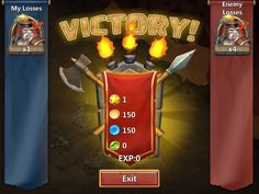 Castle Clash by IGG - Combat Victory Results Screen - UI HUD User Interface Game Art GUI iOS Apps Games