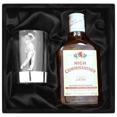 Engraved Pewter Golfer Tumbler and Whisky Gift Set