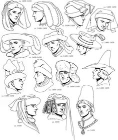 1500 S English Clothing Renaissance Fashions The top row looks like they have a pair of bloomers on their head