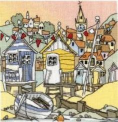 "Beach Huts 3     £29.99  A beautifully detailed counted cross stitch beach huts design adapted from the artwork of Michael Powell.  8"" x 8"" (20cm x 20cm).  Kit contains chart and instructions, needle, fabric and pre-sorted Anchor stranded cotton threads.  This design has 31 colours and uses cross stitch, half cross stitch, long stitch and blended threads."