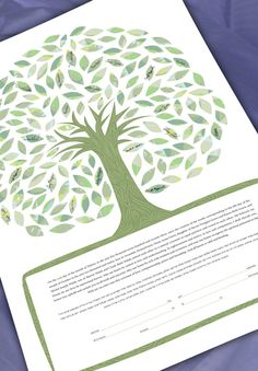 Ketubah Signing Tree  Tree of life in greens by NaomiBroudo, $360.00
