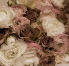 Brown, pink and white vintage inspired wedding Flowers