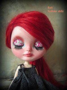 """RESERVED!!OOAK custom Icy doll with fire red wefted mohair named """"Rubí"""", custom blythe sister.  by XeiderDolls on Etsy https://www.etsy.com/listing/220551021/reservedooak-custom-icy-doll-with-fire"""