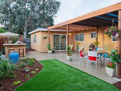 Licensed contractor Matt Blashaw replaced the tiny concrete pad with a massive paver patio shaded by a sailcloth-covered pergola. Artificial turf, instead of grass, and beds filled with sun-loving succulents ensure the landscaping is low maintenance. Matt also constructs a stuccoed island bar with built-in barbeque grill so the homeowners can make their dream of entertaining large groups reality.