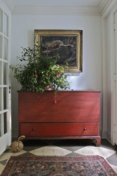 Beautiful antique blanket chest with bottom drawer & fall arrangement