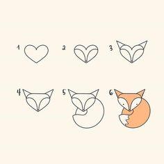 Comment dessiner un renard - Zeichnung schritt für schritt - Ruse Cute Easy Animal Drawings, Cute Drawings, Disney Drawings, Pencil Drawings, Pencil Art, Tumblr Drawings Easy, Art Drawings Easy, Space Drawings, Random Drawings