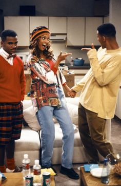 Will Smith, Tyra Banks, and Alfonso Ribeiro in The Fresh Prince of Bel-Air Willian Smith, America's Top Model, Prinz Von Bel Air, Afro, Back In The 90s, Movies And Series, Tyra Banks, Black Love, Swag Outfits