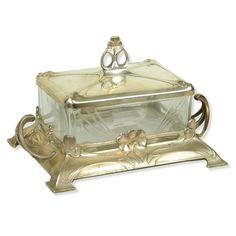Antique Art Nouveau Silver Plate & Glass Jewel Box