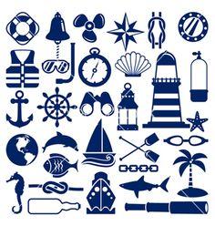 Nautical icons vector on VectorStock®