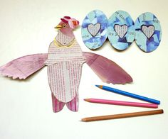 DIY Pink Bird Fold Out Wing Card for Mom by ArtistInLALALand, $4.00