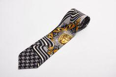 grey black + gold silk tie by versus gianni versace vintage 1990s • Revival Vintage Boutique by RevivalVintageBoutiq on Etsy
