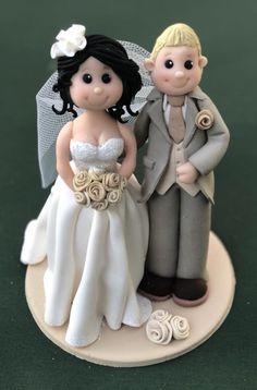 Personalised bride and groom wedding cake topper clay keepsakes