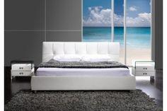 Łóżko Neo białe komfortowe łóżko do sypialni 140 x 200 cm